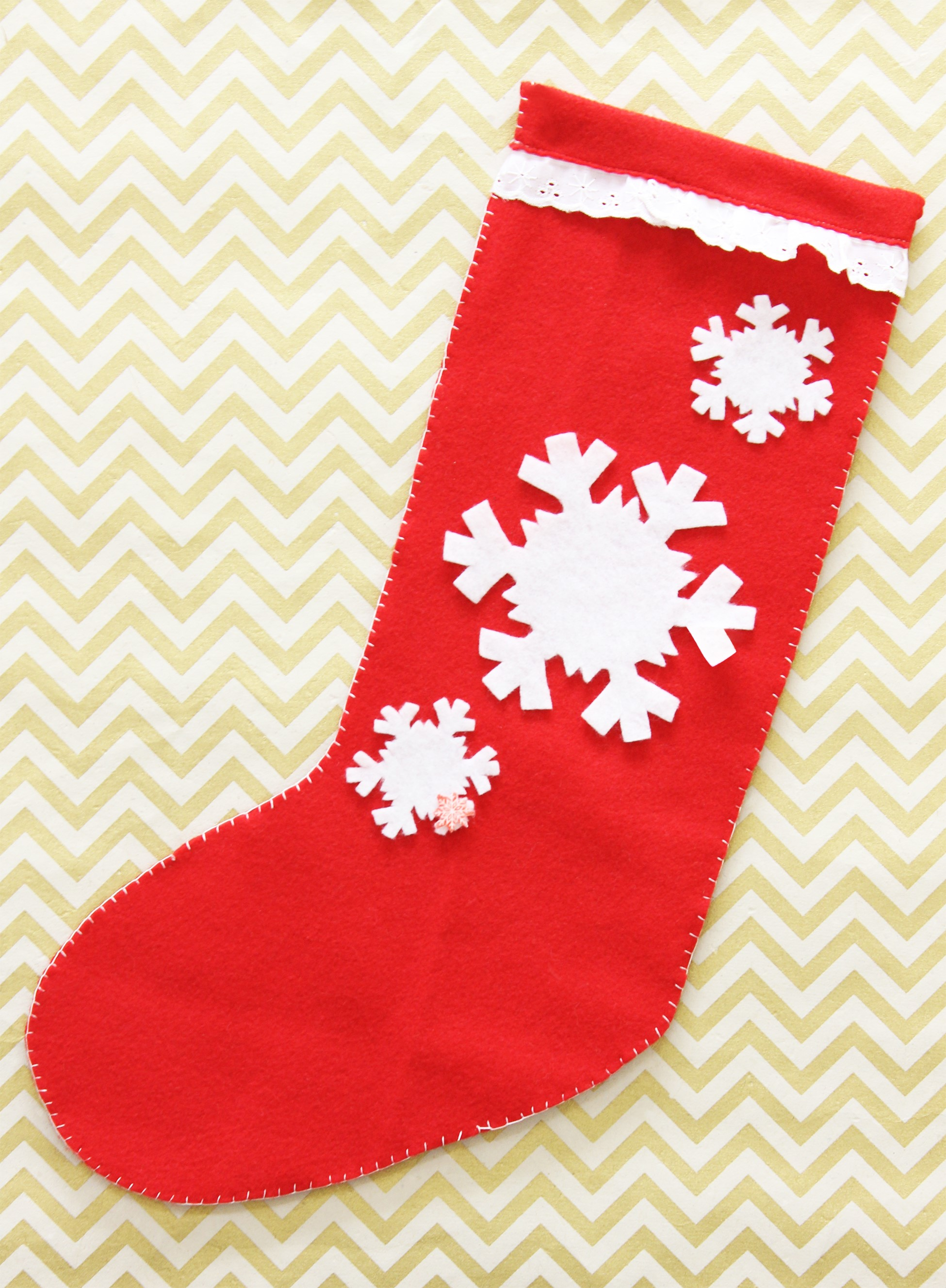 Holiday Snowflake Felt Stocking Cup Of Sugar
